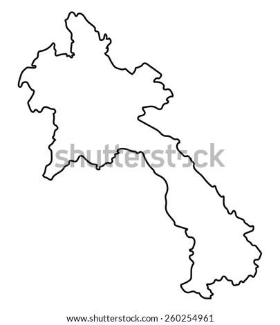 Black Outline Laos Map Stock Vector Shutterstock - Laos map vector