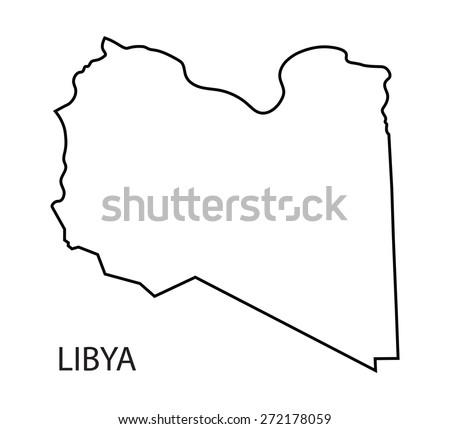 Libya Region Map Grey Outline On Stock Vector Shutterstock - Libya blank map