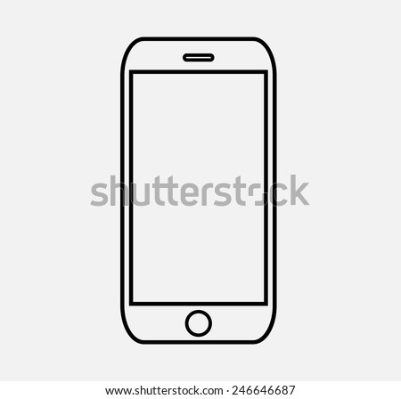 black outline smartphone icon vector illustration stock vector