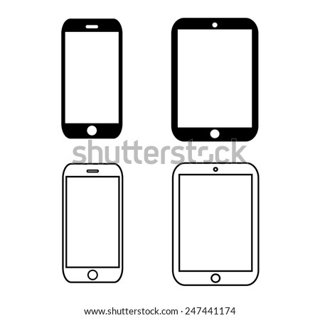 black outline smartphone icon vector iphon stock vector 247441174