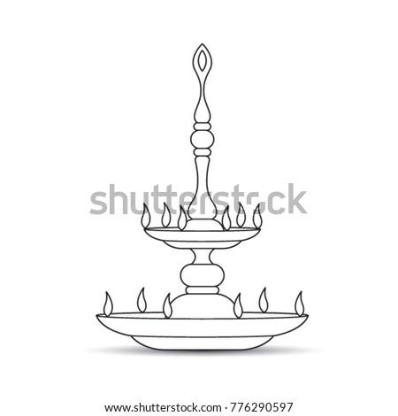 Black Outline Sri Lankan Traditional Oil Lamp Cartoon Vector Drawing