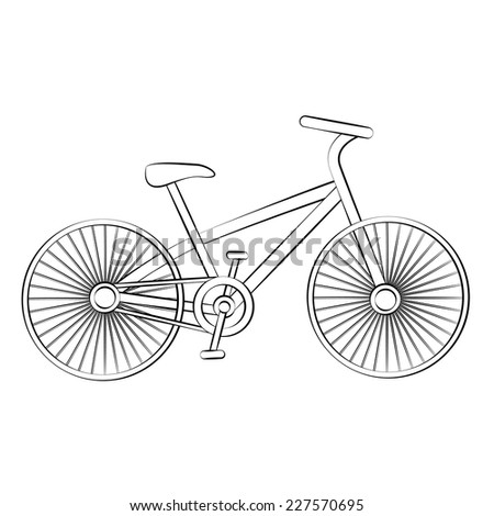 Black outline vector Bicycle on white background. - stock vector
