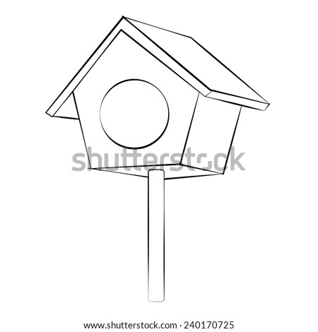 Black outline vector Bird house on white background. - stock vector
