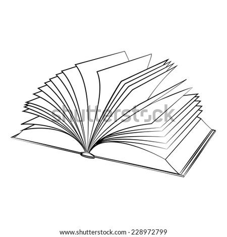 Black outline vector Book on white background. - stock vector