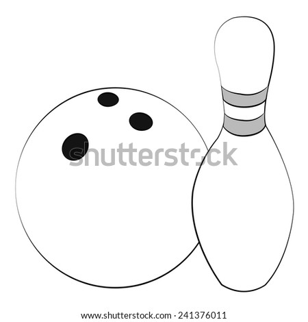 Black outline vector Bowling on white background. - stock vector