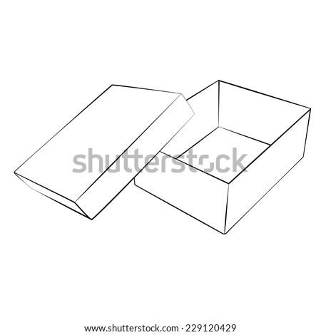 Black outline vector box on white background. - stock vector