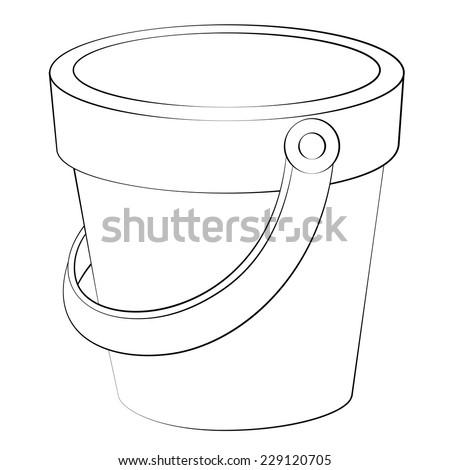 Black outline vector bucket on white background. - stock vector