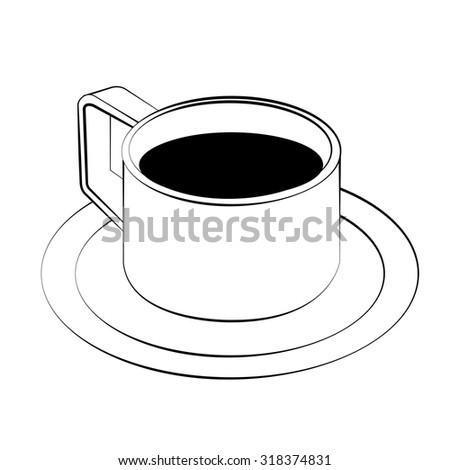 Black outline vector coffee cup on white background.