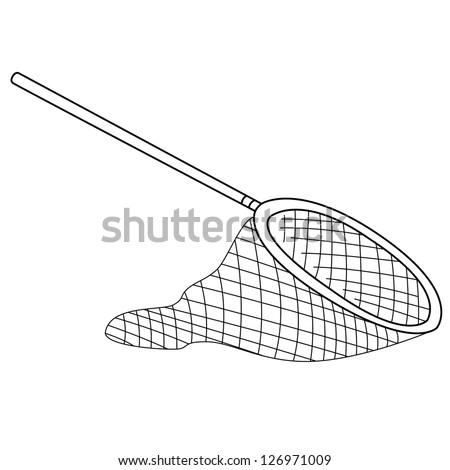 Black outline vector fishing net on white background. - stock vector