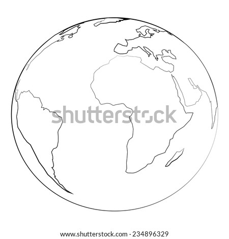 Black outline vector globe and angel wing on white background.
