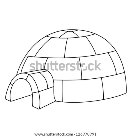 Black Outline Vector Igloo On White Vector de stock126970991 ...