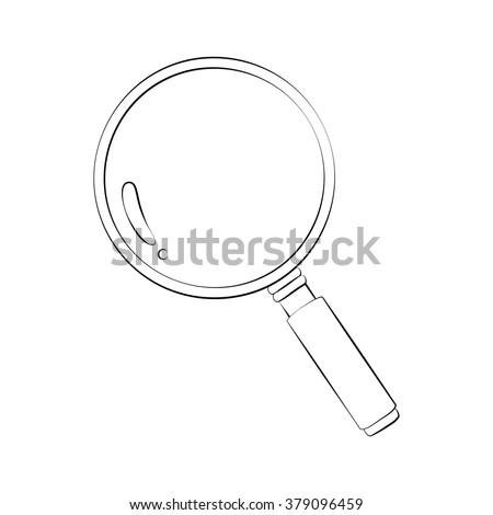Black outline vector magnifier on white background. - stock vector