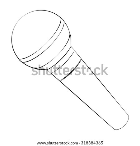 Black outline vector microphone on white background. - stock vector