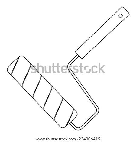 Black outline vector paint roller on white background. - stock vector
