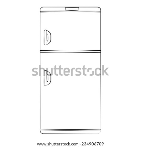 Black outline vector refrigerator on white background. - stock vector