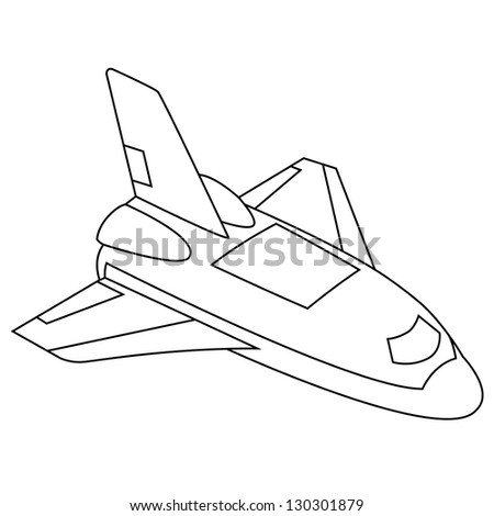 Black outline vector spacecraft on white background. - stock vector