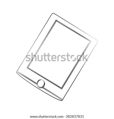 Black outline vector tablet on white background. - stock vector