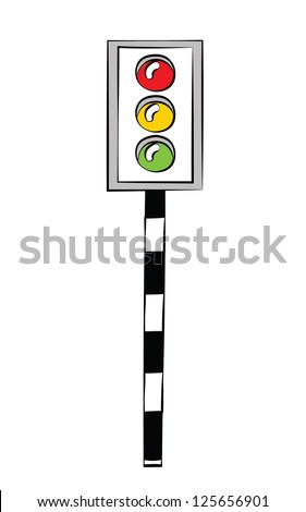 Black outline vector traffic light on white background.