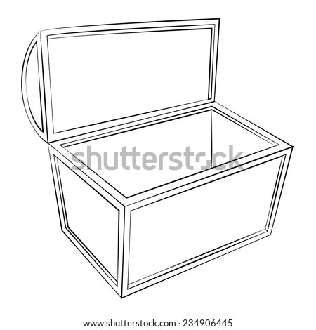 Black outline vector Treasure chest on white background. - stock vector