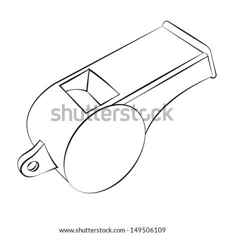 Black outline vector whistle on white background. - stock vector