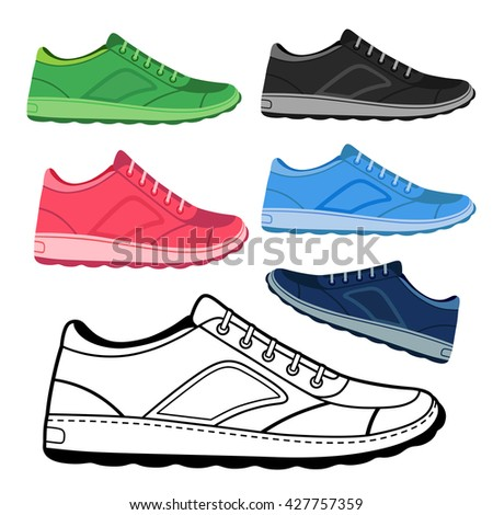 Black outlined & colored sneakers shoes set side view, vector illustration isolated on white background