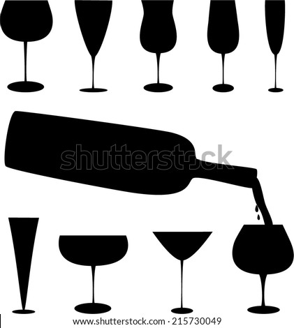 ... shapes and a bottle of wine, pour the wine into a glass - stock vector
