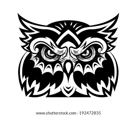 Black owl bird head for mascot or tattoo design - stock vector