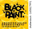 Black Paint alphabet and numbers, vector illustration. - stock photo