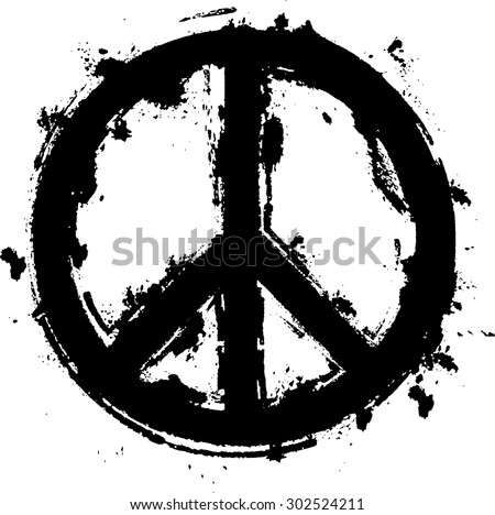 Black Paint Grunge Peace Symbol . Vector . - stock vector
