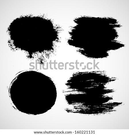 Black paint splat set - stock vector