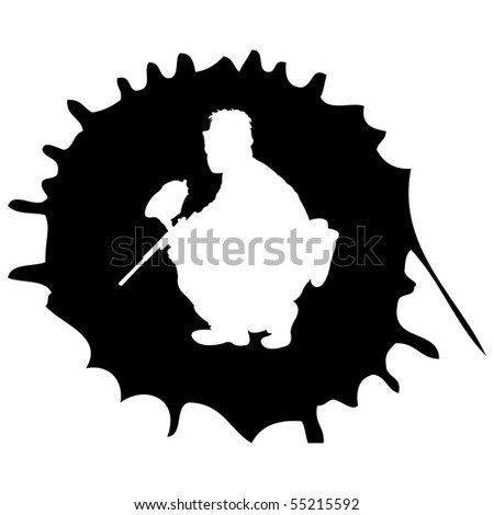 black paintball silhouette into the drop, vector illustration - stock vector