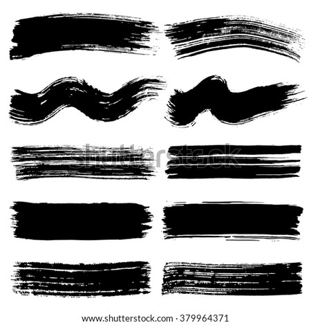 Black paintbrush. Grungy lines of ink.  - stock vector
