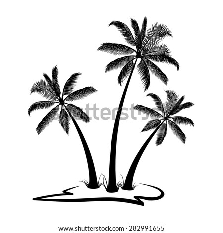 Black palm trees with land - stock vector