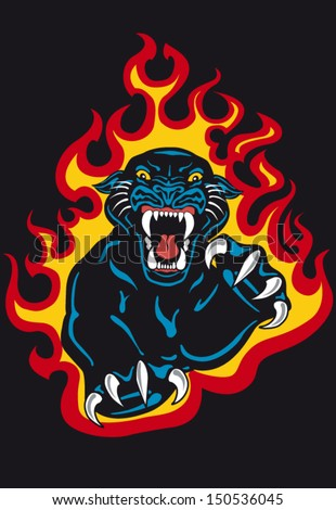 Black Panther Attack in Fire and Flames Vector Tattoo Flash - stock vector