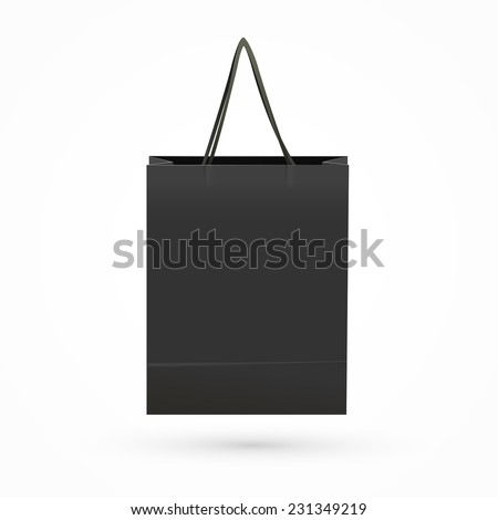 black paper bag isolated on white background  - stock vector