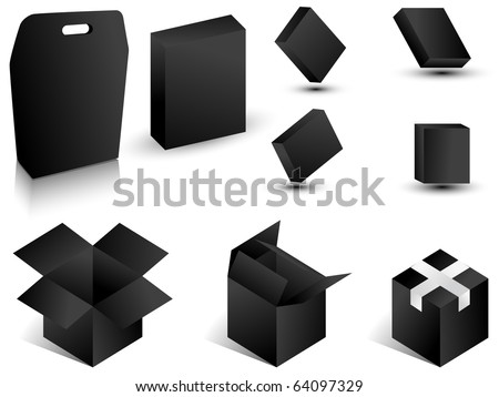Black paper boxes. Vector illustration.