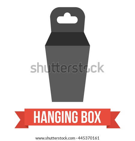 Black paper hanging box set. Packaging container with hanging hole. Mock up template. Vector illustration on white background. - stock vector