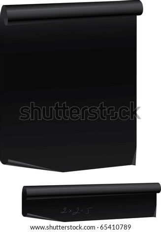 Black Paper Parchment Scroll with rolled top and bottom edges. - stock vector
