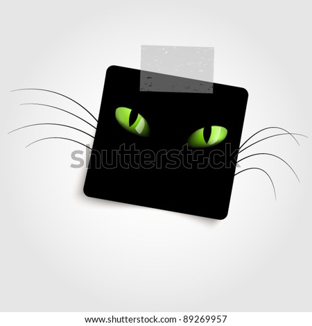 Black paper with cat eyes - stock vector