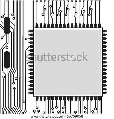 black part of electronic circuit board - stock vector