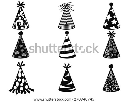 black party hat icons set - stock vector