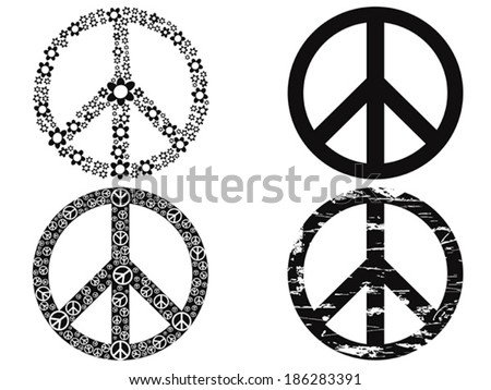 black peace symbol - stock vector