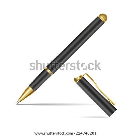 Black pen isolated on the white background. Vector illustration