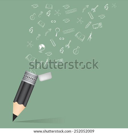 Black pencil school education concept with doodle icons set vector illustration. - stock vector