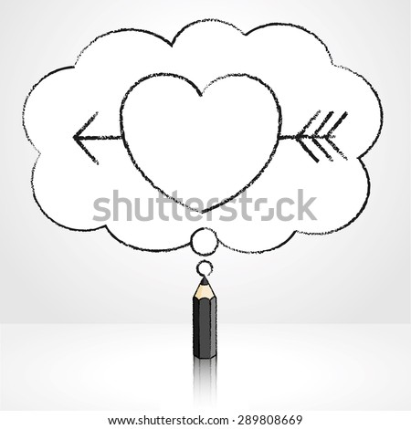 Black Pencil with Reflection Drawing Cupid's Arrow through Heart Icon in Fluffy Cloud Shaped Think Bubble on Grey Background - stock vector