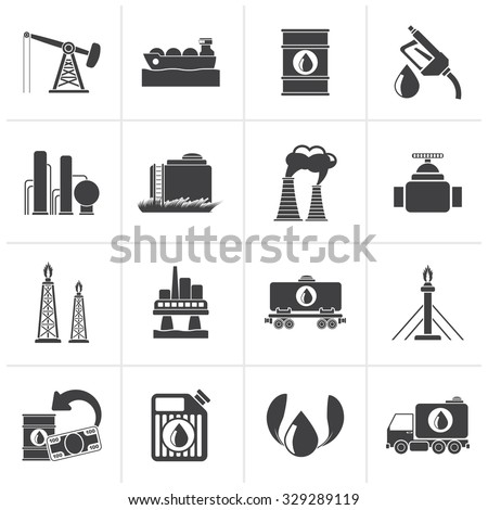 Black Petrol and oil industry icons - vector icon set - stock vector