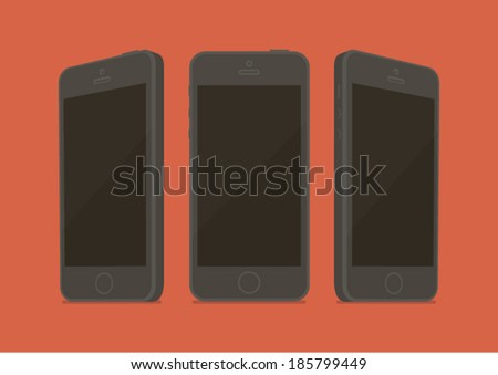 Black phone MockUp three sides Flat style - stock vector