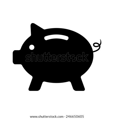 black piggy bank isolated on white background. concept of banking, deposit, richness and saving money. logo design modern vector illustration - stock vector