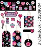 black pink and blue party stickers tags bag and banner isolated on white - stock vector