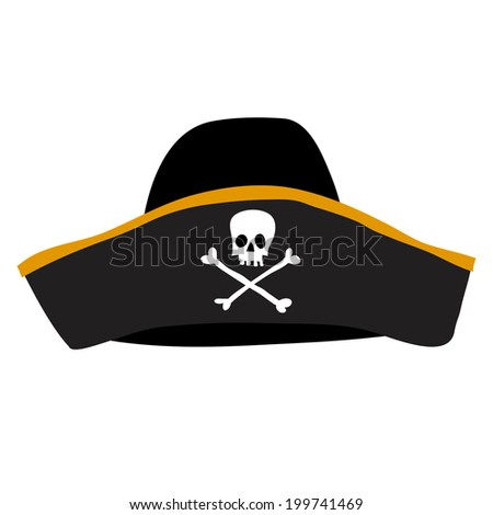black pirate hat with skull and crossbones - stock vector